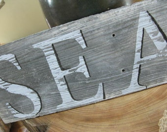 Vintage SEA Directional Sign, Hand Painted on Antique Slate Roof  Faux Wood GrainTile Sea & Salt Worn Boardwalk Vibe, gift for sea love!