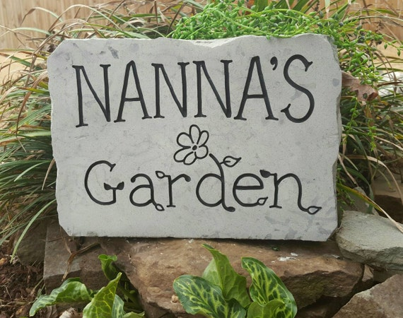 Garden stone personalized garden stone by carvedstone on etsy for Gardening gifts for him