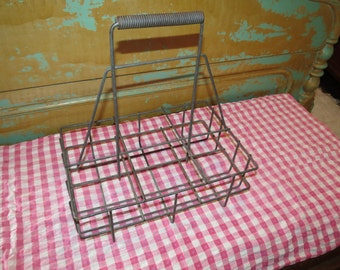 Vintage Metal Wire Oil Bottle Carrier.