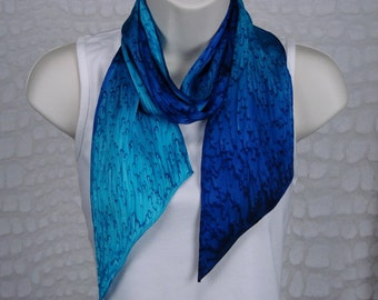 Hand Dyed Cobalt Blue/Turquoise Long Silk Scarf