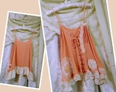Peach Top camisole romantic lace embellished coral top girly dainty feminine PETITE JR Small