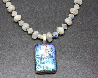 Rainbow Moonstone and Crystal Necklace, Dichroic Pendant, Swarovski Crystal, June Birthstone, Sterling Silver