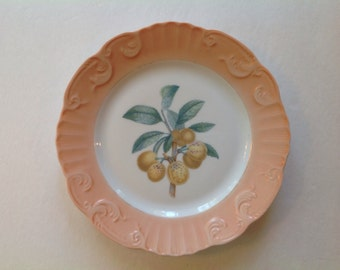 Vintage Mottahedeh  yellow cherry  plate of Romantic fruit image Dish or Wall Decor