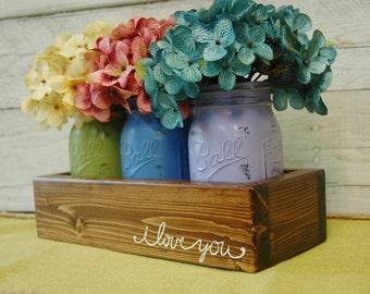 I LOVE YOU mason jar caddy , Farmhouse decor, Farmhouse kitchen decor,Fixer Upper style, wedding gift,summer decor, anniversary, Farmhouse
