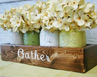 GATHER mason jar box , Farmhouse decor, Farmhouse kitchen decor, Farmhouse centerpiece, Farmhouse table decor, Fixer upper style decor