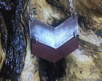 Industrial Metal / Rusty Brown Leather Chevron Necklace