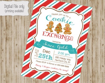 Christmas Cookie Exchange Invitation - Vintage holiday Party - Cookie Swap Invite - Printable, Holiday Party Invitation, Christmas Birthday
