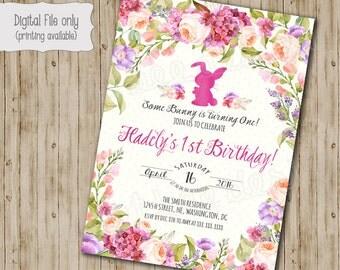 Bunny Birthday Invitation // Easter Birthday Invite // Girl Birthday Invite // Kids Birthday // Typography // Watercolor Floral