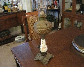 Victorian Enamel Oil Lamp converted