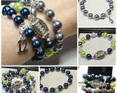 12's Set of Seahawks Themed Wolf Grey, Navy Blue and Lime Green Pave Rhinestone Beaded Stacking Bracelet, Sports, Football, Holiday Gift