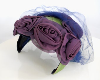 1940's Purple Roses Hat With Navy Netting