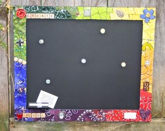 Custom Mosaic Framed chalk board, mosaic chalk board, inspirational chalkboard