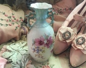 Antique Vintage Vase German Austria Ombre Blue White Floral Double Handle Shabby Chic