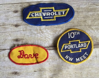 Set of Three Vintage Chevrolet Patches - Dave Patch - Chevy - Patch