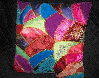 Embroidered crazy quilt Pillow cover.Unique Fiber Art Work. Victorian style. 16x16 inches