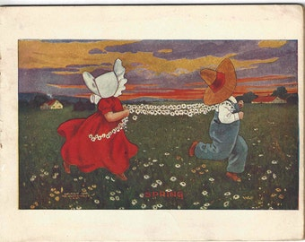 Antique 1906 Sunbonnet Babies Illustrated Childrens Book Bernhardt Wall
