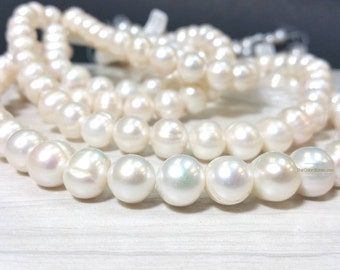 Full Strand High Luster 11 to 12 mm Freshwater Pearl Potato Beads - White Bridal or Bridesmaid Pearl (G3526NW59)
