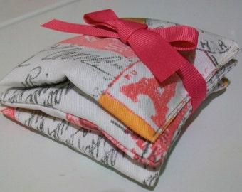 Set of 3 organic lavender sachets French Postcard print cotton twill