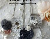Crochet Pendant Necklace Pattern-Thumbelina Collection crochet necklace,crochet pattern mori necklace,romantic,crochet pendant skeleton key