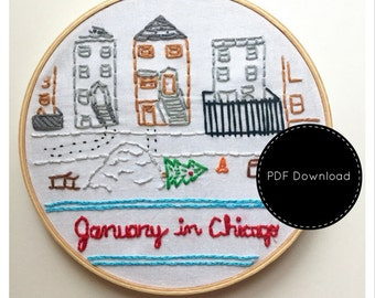 Chicago Embroidery Downloadable Pattern Christmas DIY Holiday Embroidery Transfer January in Chicago