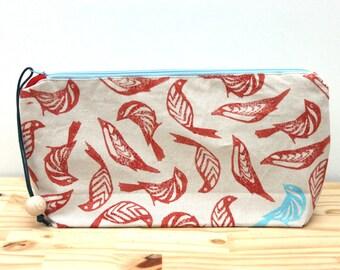Swarm of blue and orange birds clutch bag, large pencil case, boho clutch, block printing, handmade