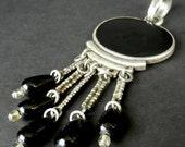 20% WINTER SALE Vintage Black Onyx or Jet Dangle Pendant  gl18