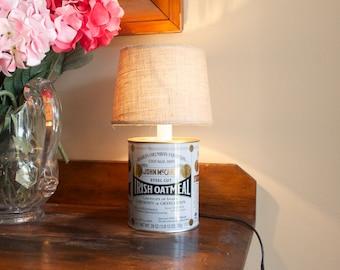 Oatmeal Tin Lamp, Desk Lamp,  Student Lamp, Log Cabin Lamp, Kitchen Lamp, Small, Steel cut oats