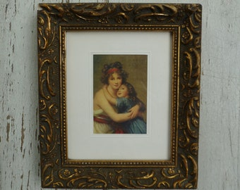 Framed Print of Painting. Mother & Daughter by Elisabeth Vigee Le Brun. Vintage 1950s 1960s. Small French Picture in Frame. Print on Silk.