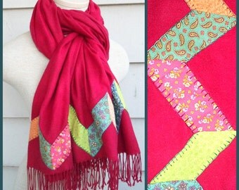 Zig-Zag Appliqued Pashmina - Hand Embroidered Red Scarf with Multicolored Chintz Chevrons