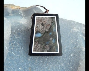 Larvikite,Black Stone Intarsia Pendant Bead,37x29x6mm,13.9g(a0539)