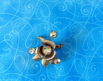 Vintage Rhinestone Flower Brooch, rhinestone brooch, Aurora borealis,