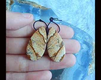 New,Picture Jasper Earring Bead,30x15x4mm,5.6g