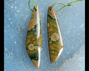 SALE,2 PCS Rainforest Jasper Gemstone Pendant Bead SET,5.8g