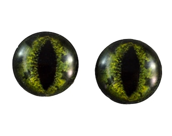 16mm Green Alligator Glass Eye Cabochons - Taxidermy Eyes for Doll or Jewelry Making - Set of 2