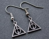 Silver Deathly Hallows Symbols . Earrings
