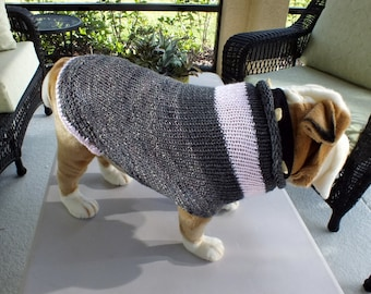"Dog Sweater Hand Knit English Bulldog Henrietta 18.5"" inches long Merino Wool"