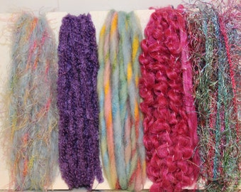 Specialty yarn art fiber embellishment bundle, Fuzzy Easter