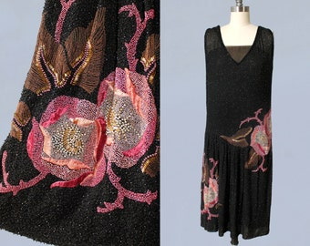 RESERVED 1920s Dress / 20s French Couture BEADED Flapper Dress / Absolutely Covered in Beads! / METALLIC Threadwork / Silk Floss Embroidery