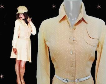 70s Willi Smith Mini Shirtwaist Dress - Vintage Womens Spring Yellow Mini Dress - Rare Designer Mini Dress and Belt - Willi Smith Syllables