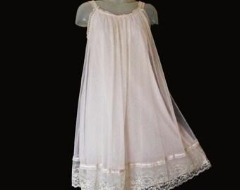 Vintage Van Raalte Baby Doll Nightgown - 60s - Soft Pink - Chiffon Overlay - Valentines Gift