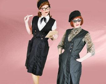 Vintage Waitress Uniform - 1950s Retro Waitress or Maid Uniform or Black Jumper Dress - 50s LBD