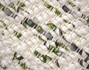Handwoven , unused Cotton Fabric ribbons  rag rug - 3.02' x 3.57' ,   white,black, green, birch - tree, ready for sale