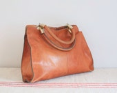 Vintage tan leather hold bag handbag