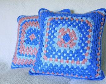 Pair of vintage retro hand crochet knitted cushion covers cases in blue and pink