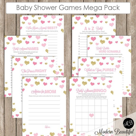 baby shower game pack pink and gold glitter baby shower activity
