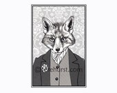 reynard - fox art - 8.5 x 11 black and white print - portrait illustration