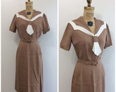 1950s  Lampl Sailor Dress 50s Wiggle Dress