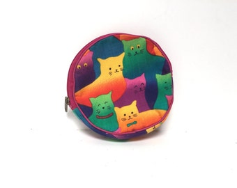 vintage CAT kitten color block kitty cat MAKEUP bag tiny pouch coin purse