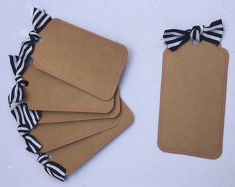 Kraft Paper Tags with Stripe Ribbon, READY to SHIP, Set of 6 Tags