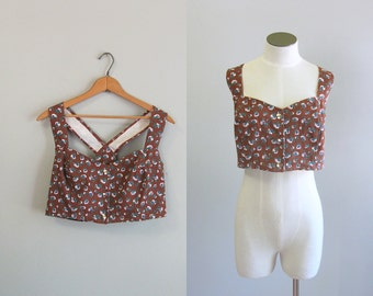 Vintage 1990s Paris Blues Wet Seal Crop Top. 90s Brown Cotton Bustier. Y Back Snap Top.